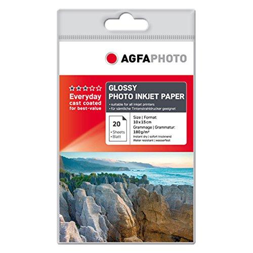 AgfaPhoto AP18020A6 Photopapier, A6, 10 x 15 cm, gussgestrichen, 180 g/m², 20 Seiten Inkjetpapier, Photocards, Qualitätslevel: Best Price