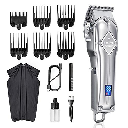 Limural Tondeuse cheveux professionnelle hommes, tondeuses à cheveux électrique pour hommes, femmes, enfants(lame réglable/rechargeable/sans fil &filaire/USB/affichage LED/matériau métallique)
