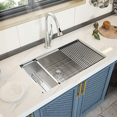 28 Kitchen Sink Undermount - GhomeG 28 Inch Undermount Kitchen Sink Ledge Workstation Deep Single Bowl 18 Gauge Stainless Steel Sink Basin