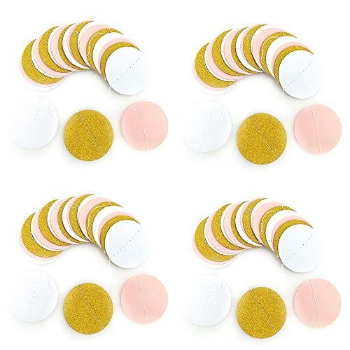 Lezed 4 Unidades Guirnalda de Papel Redondo Decoración de Guirnalda Papel Banner para Fiestas de Nacimiento Guirnalda de Papel Redonda de Colores Surtidos Puntos de Circulo Decoraciones de Colgante