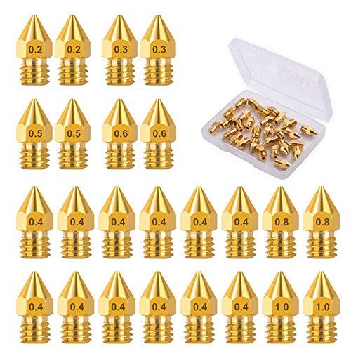 24 Nozzles ugelli per stampante 3D 0,4 mm 0,2 mm 0,3 mm 0,5 mm 0,6 mm 0,8 mm 1,0 mm con scatola per stampante 3D