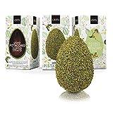 Giraudi Uovo di Pasqua Artigianale al Cioccolato Fondente 61% e Bianco con Granella di Pistacchi Doppio Strato, Senza Glutine, 300 Grammi