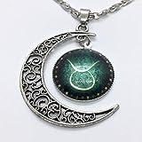 Unbekannt Collar de Plata con Colgante de símbolo del Zodiaco, diseño de Toro