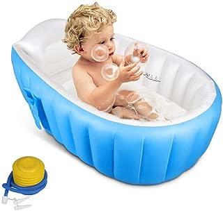 ベビーバス バスタブ 赤ちゃんお風呂 ベビーバスタブ 空気入れポンプ付き ふかふかベビーバス 折りたたみ (ブルー)