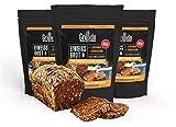 **NEU** Grillido Eiweiß-Brot Backmischung mit 38% Protein I 3x300GR für 1.5 KG Brot I mit Leinsamen & Kürbiskernen I Lactosefrei I Vegan I Proteinreich
