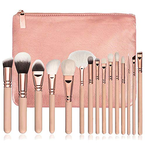 MEIYY Pinceau de maquillage 15 Pcs/Set Makeup Brushes Soft Fiber Cosmetic Complete Foundation Blending Wooded Handle Eye Kit + Cosmetic Bag
