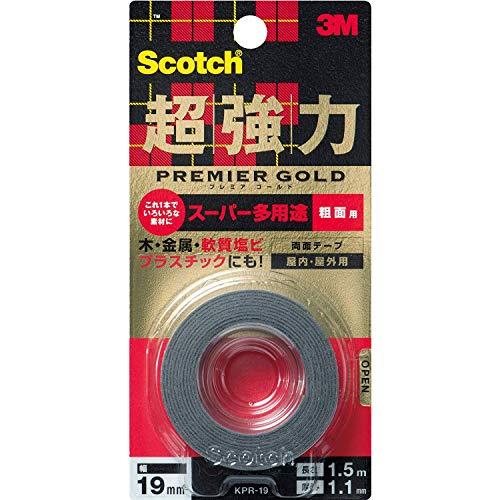 スコッチ 超強力両面テープ プレミアゴールド(スーパー多用途)粗面用 KPR-19 19mm×1.5M