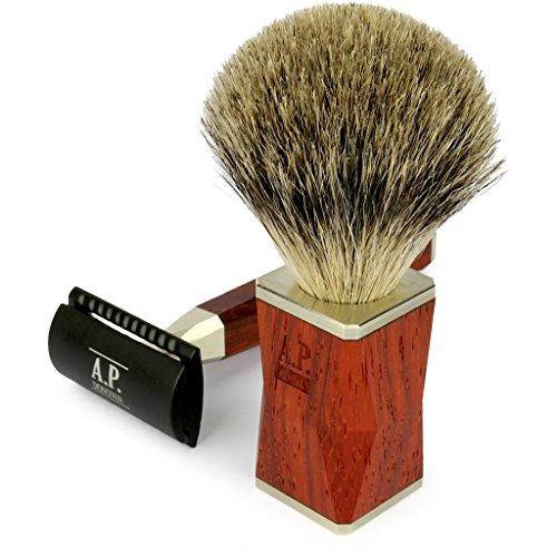 A.P. Donovan - Rasatura Set - classico rasatura bagnata, Barbiere - rasatura dei capelli pennello tasso, rasoio di legno - Ventralis - Mogano Rasatura e affettatrice Set