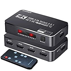 top 10 4k hdmi switch 4K HDR HDMI switch, Koopman 5 port 4K 60Hz HDMI 2.0 switch switch, with IR remote control, support…