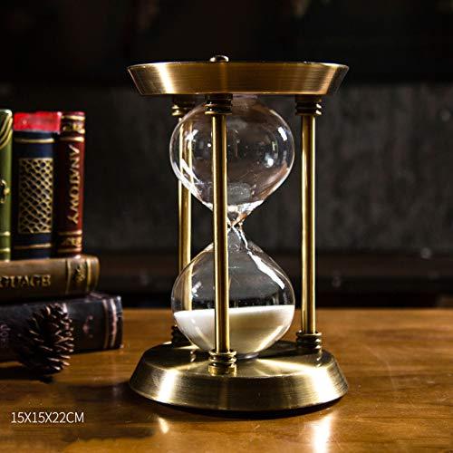 LIULIU Transparent Kristall Sanduhr Timer Sand Uhr Handwerk Glas Dekoration, 30 Minuten / 60 Minuten,Gold-S