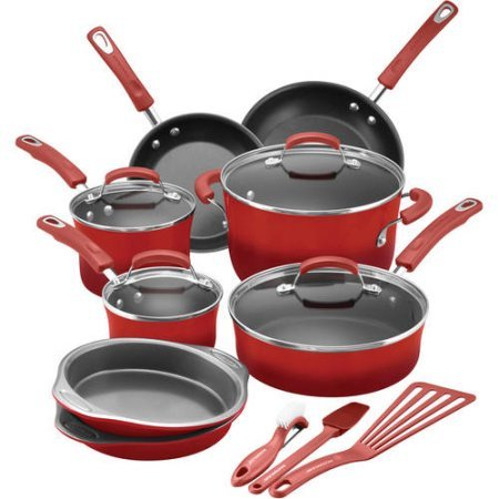 Rachael Ray 15-Piece Hard Enamel Nonstick Cookware Set   Oven-Safe to 350...