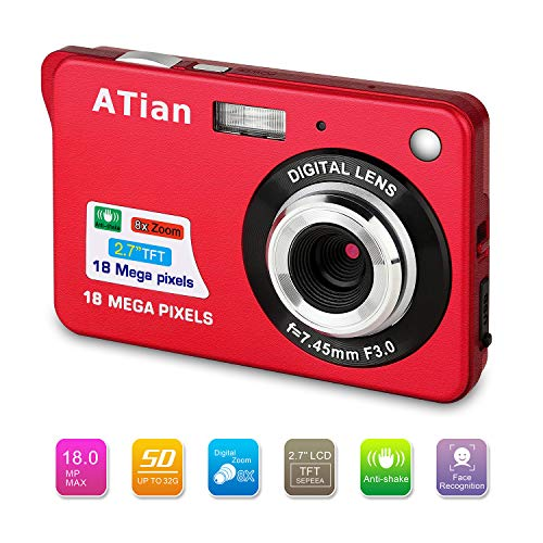 ATian 27quot LCD HD Digital Camera Amazing Rechargeable Camera 8X Zoom Digital Camera Kids Student Camera Compact Mini Digital Camera Pocket Cameras for Kid/Seniors/Student Red