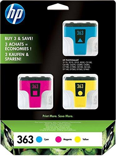 HP 363 CB333EE, Cian, Amarillo y Magenta, Cartuchos de Tinta Originales, Pack de 3, para impresoras de inyección de tinta HP Photosmart serie 3200, 6100, 6200, 7200, 7400 y 8100