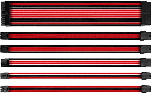 Antec PSU Verlängerungskabel, 24 Pin / 4 + 4 Pin / 8 Pin / 6 Pin Sleeved Kabel, 30 cm Länge mit Kämpfen, Rot/Schwarz