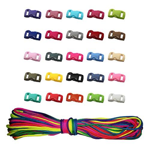 HONGCI 1Pack 101Ft Paracord Seil Regenbogen Farbe Fallschirm Schnur Outdoor Nylon Seil + 30Pcs Konturierte Seiten Release Kunststoff Mini Schnallen 3/8 Zoll für Paracord Armbänder, Zelt