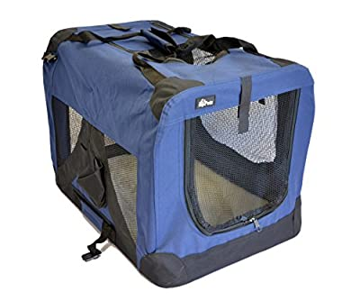 "topPets Portable Soft Pet Carrier - Medium: 24""x16""x16"" - Dark Blue"