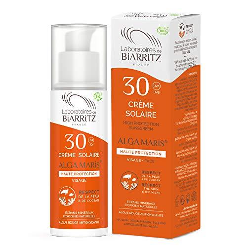 Laboratoires de Biarritz - Crème Solaire Visage - SPF30 - ALGA MARIS® Certifiée Bio - Pour Adulte - Résiste à l'Eau, Hydratante et Matifiante - 50 ml - Fabriqué en France