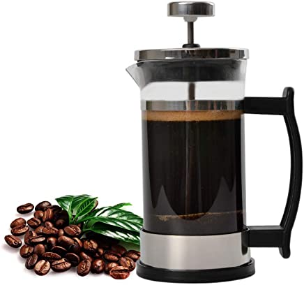 French Press Coffee Maker, Stainless Steel and Borosilicate Glass Plunger,12 Ounce,1.5 Cups,Silve (12oz-02)