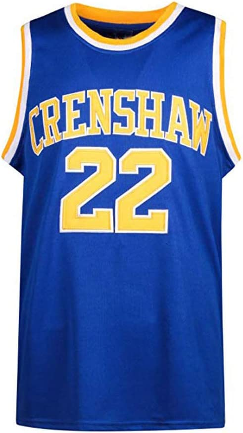 2-Layer Stitched Letters and Numbers MOLPE Quincy McCall 22 Crenshaw High School Blue Basketball Jersey