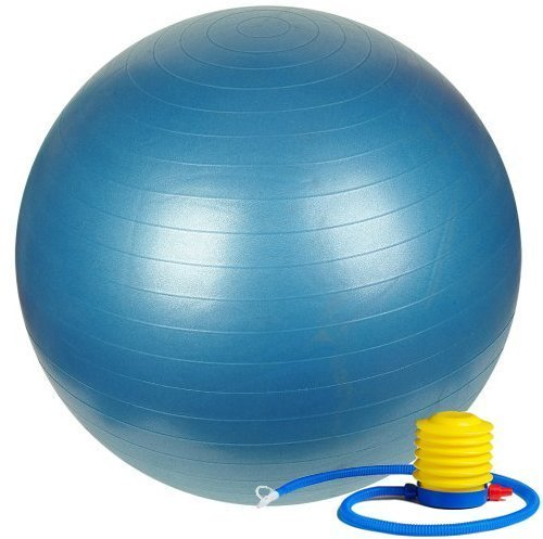 ETCBUYS Premium Exercise Ball 65 cm Extra Thick Yoga Ball and Fitness Balls Yoga Equipment and Accessories for Beginners, Swiss Ball Help with Pregnancy Birthing Ball (Blue, 65 cm)