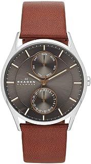 Relógio Analogico Skagen Masculino Caixa Couro Prata; Pulseira Couro Marrom