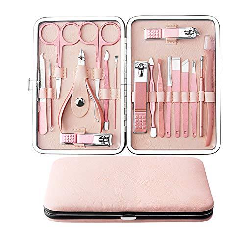 Kit de manicura de oro rosa de 18 piezas, Macllar Handy Juego de cortadores de uñas de acero inoxidable, herramientas de manicura unisex para mujeres, hombres, viajes y hogar