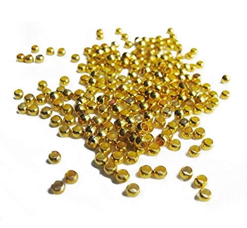 Perlin - Quetschperlen Crimps Perlen Rund 2mm 700stk Messing Metall Gold Farbe für Schmuckherstellungs Schmuck Zubehör
