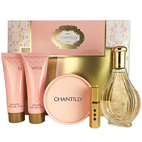 Dana Chantilly Set for Women, Body Lotion, Body Wash, Dusting Powder & Refillable Spray, EDT Spray 3 oz