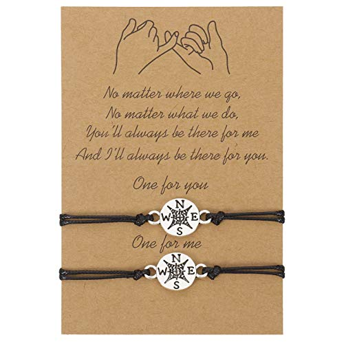 Xinzistar 2 Stück Freundschaftsarmband Paar Armbänder Langstrecken Versprechen Matching Armbande für Damen Herren Paare Beste Freunde Mutter Tochter (Kompass)