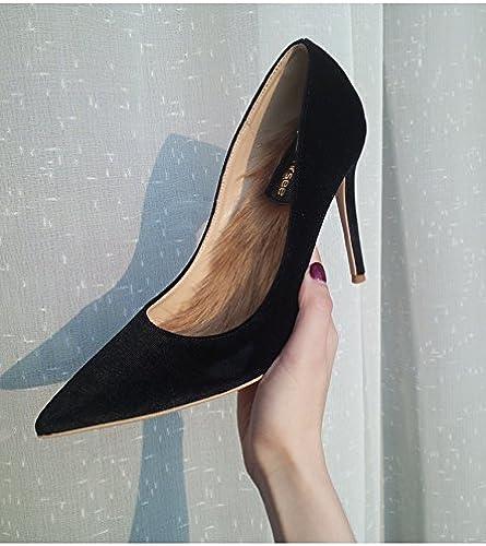 Xue Qiqi zapatos de la Corte zapatos de tacón Alto Puntiagudos de Terciopelo Femenino con zapatos Solos zapatos de Novia de Color rojo Femenino zapatos de Boda mujer 37, Terciopelo negro 8CM