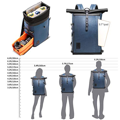 K&F Concept Kamerarucksack Rolltop Fotorucksack Wasserdicht für Spiegelreflexkamera Canon Nikon Sony Fujifilm Olympus und 15,6 Zoll Laptop 16 Liter