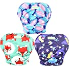 Wegreeco Baby & Toddler Snap One Size Adjustable Reusable Baby Swim Diaper (Mermaid,Fox, Feather, Small, 3 Pack)