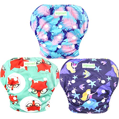 Wegreeco Baby & Toddler Snap One Size Adjustable Reusable Baby Swim Diaper (Mermaid,Fox,Feather,Large,3 Pack)