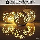 Gadgy ® Set von 3x Led Kugel Deko Licht l Inklusive 24 LED Lichterkette l Handgefertigt l Keramikkugeln mit Perforation l Schatteneffekt l Ø 8/10/12 cm - 3
