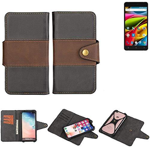 K-S-Trade® Handy-Hülle Schutz-Hülle Bookstyle Wallet-Case Für Archos 55b Cobalt Lite Bumper R&umschutz Schwarz-braun 1x