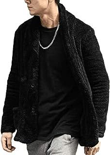 Macondoo Hombres Retro Bolsillo Peluche Abrigo Fleece Chaqueta Cardigans