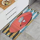 FAKAINU Tapis de Cuisine et Tapis, Raquette de Badminton et Balle icône Plate avec Ombre portée, Tapis de Sol Confort Noin-SLP pour Cuisine, Bureau, paillasson