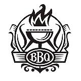 Insignia De Barbacoa Gourmet Diy Etiqueta De La Pared Etiqueta De La Pared De La Cocina Decoración De Vinilo Etiqueta De Barbacoa Y Etiqueta De Fuego Decoración Café Bar Calcomanía Mural 58X64Cm