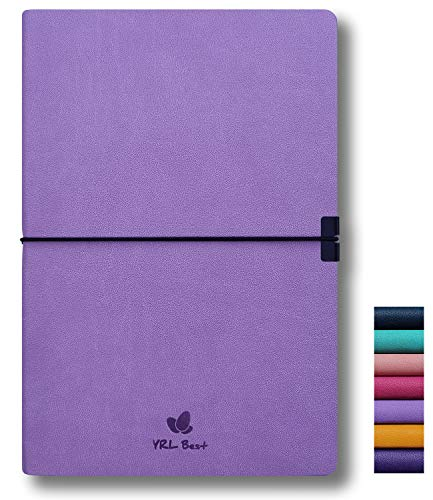 YRL Best Writing Journal Notebook, College Ruled/Lined, A5 Size, 5.8x8.3', Fine PU Leather, 160 Pages of Premium Thick Paper, Sewn Bound, Inner Pocket, Elastic Band, Ribbon Bookmark, Lavender