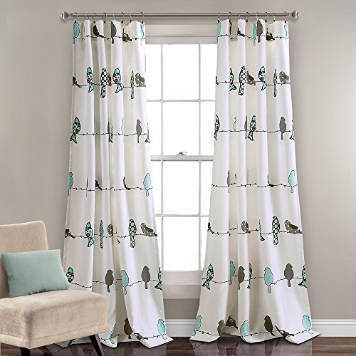 Lush Decor Rowley Birds Curtains Room Darkening Window Panel Set for Living, Dining, Bedroom (Pair), 84' L, Blue & Gray, 2 Count