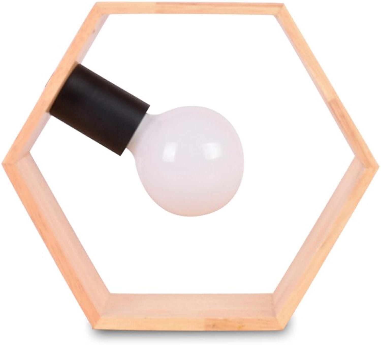 JIAHONG Kreative sechseckige Massivholz Schreibtischlampe, warmes und romantisches Schlafzimmer Nachttisch Licht, Multi-Winkel Placed (Druckknopfschalter, E27 Birne)