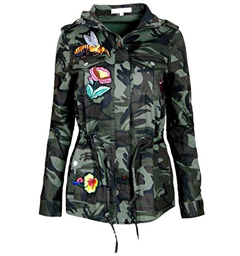 ALZORA damesjack Camouflage Parka militair overgangsjack Patches Blouson, F808