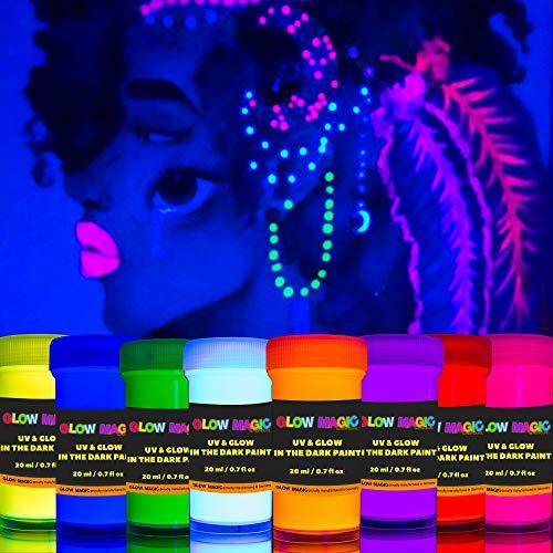 individuall 2-IN-1 Glow in The Dark Leuchtfarben Set | Nachleuchtende Neon Farben die im Dunkeln & UV Schwarzlicht leuchten | Aufladbar & Selbstleuchtend | 8 x 20 ml von Glow Magic