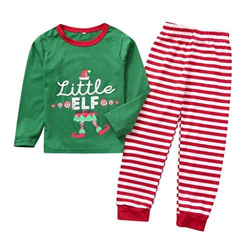 Longra T-shirt voor dames, bedrukt met letters, voor kinderen, ouders, kinderen, Kerstmis en kostuum, gestreept, pyjama, Kerstmis, baby