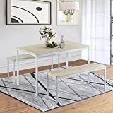 3 Piece Kitchen Table Set, Rockjame Modern Dining Table Set with 2 Benches, Wood Table Top with Metal Frame for Dining Room Kitchen Furniture (Beige/White)