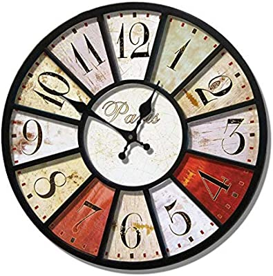 Imoerjia Retro Creative Personality Watches Continental Iron Art Deco Living Room Large Mute Wall Clock,
