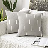 <span class='highlight'><span class='highlight'>MIULEE</span></span> Set of Two Cushion Cover Throw Pillowcase Short strips Lines Square Decrative Protecter Home for Sofa Bedroom Living Room 18 x 18 Inch 45 x 45cm Light-grey