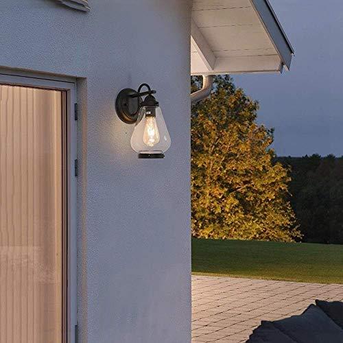 Globe Electric Turner Aplique de pared para exteriores de un solo cabezal E 27 Pantalla de cristal transparente de hierro forjado con chapa negra, Impermeable al aire libre 7 W 120 V