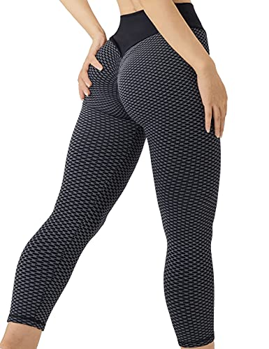 Fulbelle Scrunch Butt Leggings,Anti Cellulite Tummy Control Casual Athletic Black Pants for Women High Waisted Honeycomb Slimming Booty Tights Rinning Scrunch Stretchy Trouser S