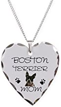 CafePress - Boston Terrier Mom - Charm Necklace with Heart Pendant